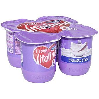 Vitalínea Danone Yogur desnatado 0% plus cremoso sabor coco 4 unidades de 125 g