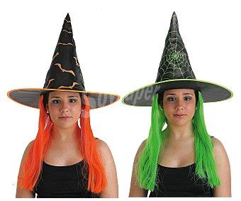Llopis Gorro con peluca de colores para disfraz de bruja, Halloween Gorro bruja c/peluca