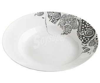 Quid Plato hondo de 23 centímetros de diámetro fabricado en porcelana de color blanco, modelo Extrawhite Sphere Abisal 1 unidad