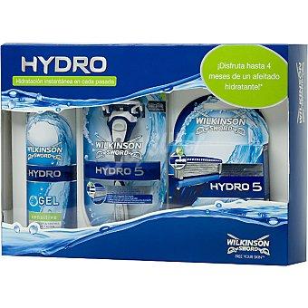 Wilkinson Maquinilla de afeitar Hydro 5 + gel de afeitar Hydro Sensitive + recambio de maquinilla estuche 4 unidades Spray 240 ml