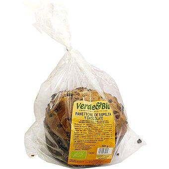 VERDE BIO Pannetone de espelta y chocolate ecológico sin azúcar Envase 500 g