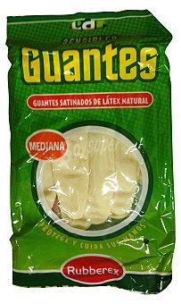 Rubberex Guantes sensible color carne talla mediana Paquete 2 u