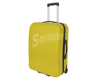 Maleta Maleta de 2 ruedas, abs, rígida y con diseño de rayas verticales sobre un fondo de color amarillo, medida: 67 centímetros 67cm