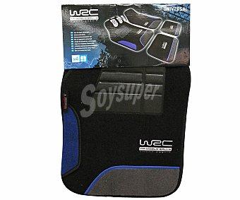 WRC Juego de 4 de alfombrillas para coche fabricadas en moqueta de color negro y acabados en azul 1 unidad