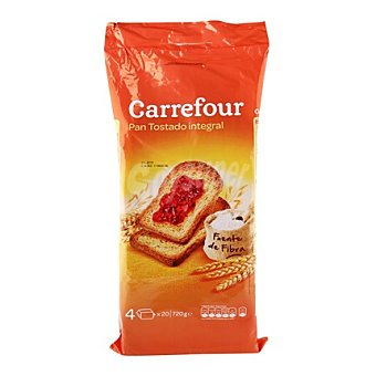 Carrefour Pan tostado integral Pack de 80X720g