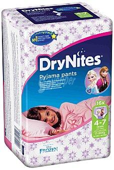 Huggies Pañales Drynites Niña Talla 4-7 Años Bolsa 16 ud