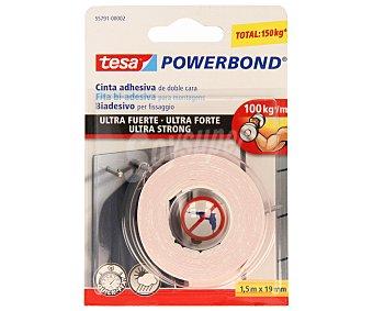Tesa Cinta adhesiva de doble cara ultrafuerte y para uso tanto interior como exterior, modelo Powerbond ultra strong 1.5 metros de 19 Milimetros
