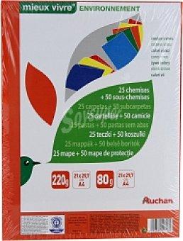 AUCHAN Carpetas de Cartón Colores Vivos, A4, 240x320 Centímetros, 220 Gramos 25 Unidades