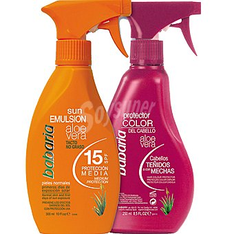 Babaria Emulsión solar aloe vera FP-15 pistola 300 ml + protector color del cabello aloe vera pistola 250 ml 300 ml