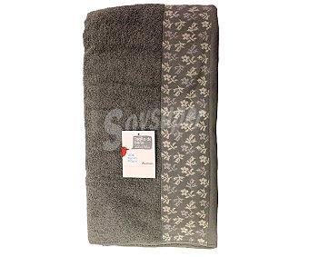 AUCHAN Toalla de algodón, estampado jacquard color gris, 100x150 centímetros 1 Unidad