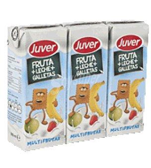Juver Zumo multifrutas + leche + galletas Pack de 3x200 ml