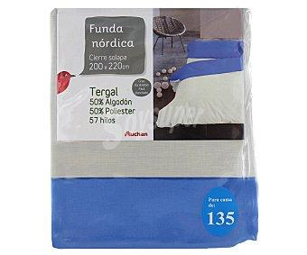 AUCHAN Funda para edredón nórdico de 135 centímetros, color tierra 1 Unidad