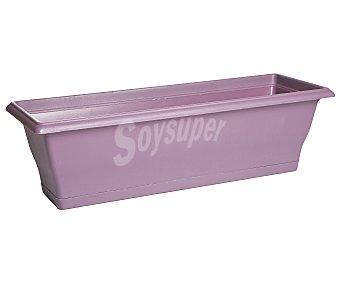 VAN Maceta balconera rectangular de plástico, lisa, de color violeta y medidas de 60 x 20 x 19 centímetros 1 unidad