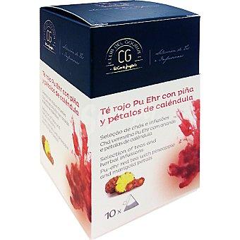 Club del gourmet Té rojo Pu Ehr con piña y pétalos de caléndula 10 bolsitas individuales estuche 20 g estuche 20 g