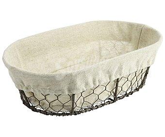 Gers Cesta oval de metal y cubierta con tela para pan, 27,5cm., GERS.