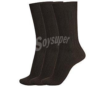 DON POSETS Pack de 3 pares de calcetines clásicos con tacto de seda y puño antipresión, color marron, talla única Pack de 3
