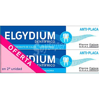 Elgydium Pasta dentífrica con clorhexidina anti-placa  pack 2 tubos 75 ml