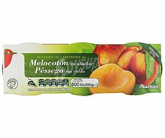Auchan Mitades de melocotón en almíbar Pack de 3 unidades de 115 gramos