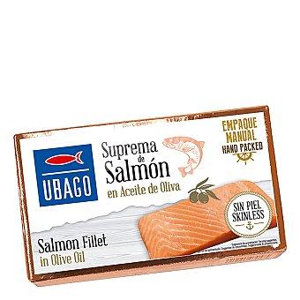 Ubago Supremas de salmón en aceite de oliva sin piel Lata 80 g neto escurrido