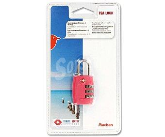 Auchan Candado combinación de 3 cifras con cierre TSA (cierres homologados por la Agencia de Seguridad en el Transporte de ee.uu) 1 Unidad