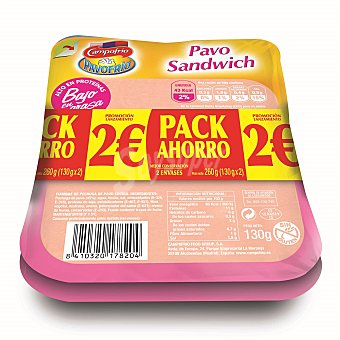 Pavofrío Campofrío Pavo sándwich Pack de 2 u x 135 g