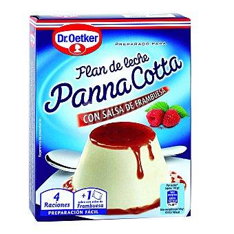Dr. Oetker Preparado para Flan de leche Panna Cotta con salsa frambuesa Envase 110 g