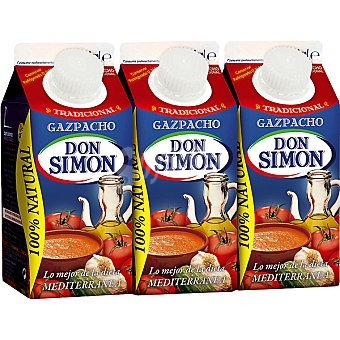 Don Simón Gazpacho 100% natural Pack 3 envase 330 ml