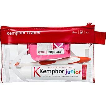 KEMPHOR Junior Neceser con pasta dentífrica fluorada + cepillo de dientes + enjuague bucal Frasco 50 ml
