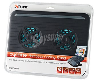 TRUST CYCLONE Base refrigeradora para ordenadores portátiles, 2 ventiladores, inclinable, protección contra el sobrecalentamiento
