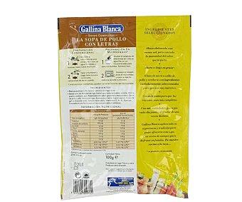 Gallina Blanca Sopa Completa de Pollo con Letras Sobre 100 Gramos