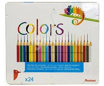 AUCHAN Caja Metálica de Lápices de Colores 24 Unid