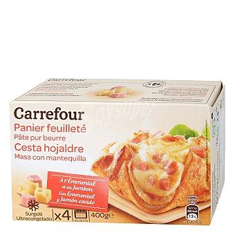 Carrefour Hojaldre Emmental y jamón cocido Pack de 4x100 g