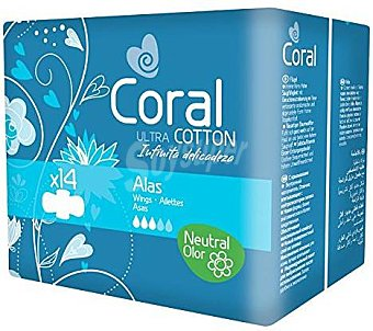 Coral Compresas con Alas 14 ud