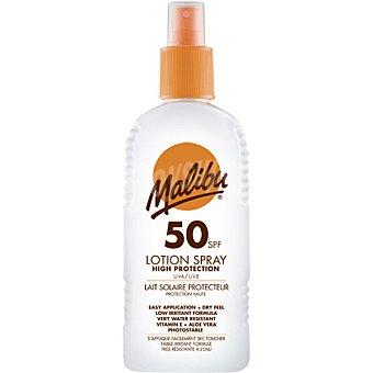 MALIBU Leche solar protectora FP-50 resistente al agua spray de 200 ml