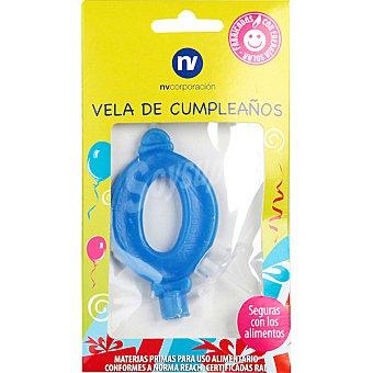 NV. Vela de cumpleaños azul nº0 blister 1 unidad