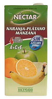 Hacendado Nectar naranja platano manzana sin azucar Brick 1 l