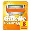 Recambio de cuchillas de cinco hojas para maquinilla de afeitar 5 8 uds Gillette Fusion