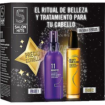 SALON HITS Pack con 11 Benefits tratamiento integral de belleza para el cabello + Beauty Hair Elixir fluido sublime de belleza para el cabello Pack con 11