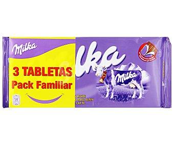 Milka Chocolate con leche Pack de 3 uds. de 125 gr