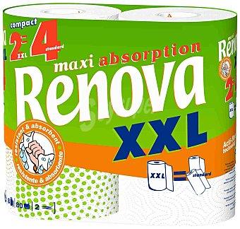 Renova Rollos de cocina maxi absorcion XXL doble rollo paquete 2 rollos
