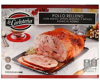 La Carloteña Pollo semideshuesado y asado al horno, relleno de huevo, jamón serrano y dátiles 1,5 kg