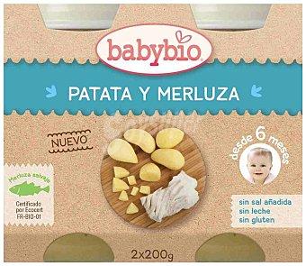 BabyBio Tarrito de patata y merluza eco Pack 2 tarros x 200 g