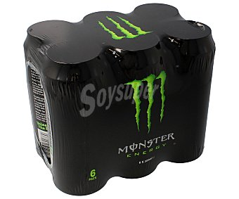 Monster Energy Bebida energética Green con taurina y ginseng  Pack 6 latas 50 cl Pack 6 latas 50 cl