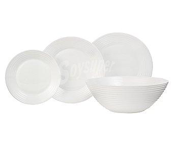 Luminarc Vajilla completa de 19 piezas, 6 servicios, fabricada en vidrio opal color blanco 1 unidad