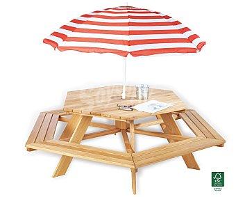 PROFILINE Mesa de madera infantil hexagonal modelo Nikki. Fabricada en madera de abeto sin tratar, incorpora en una sola pieza la mesa y los 6 bancos (No incluye sombrilla). Medidas: 162x162x50 centímetros. Altura de los asientos: 28 centímetros, edad recomendada de 2 a 7 años Mesa madera hexogonal