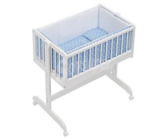 PisPas Minicuna para bebé, color blanco y azul, barrera abatible, ruedas