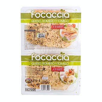 Hacendado Focaccia con queso romero y tomillo Pack 2 x 150 g