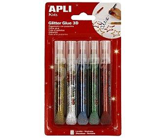 APLI Lote de 5 bolígrafos de pegamento líquido de 13 mililitros, con purpurina, de diferentes colores, lavable y con aplicador roller, especial para decorar 1 unidad
