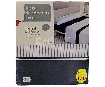 Auchan Juego de sábanas para cama de 150 centímetros con estampado a rayas color azul marino, modelo Tenerife 1 unidad