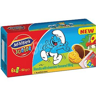 MCVITIE'S Junior Pitufos galletas con chocolate paquete 150 g 6 bolsitas con 2 unidades